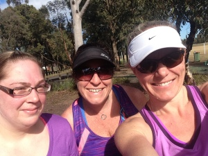 Narelle & Michelle, the second 'shift' of runners join me to help me get my 28km done.